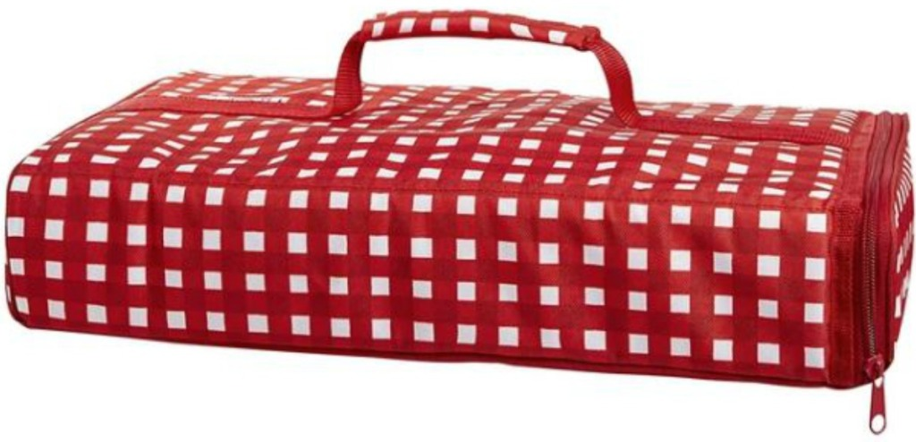 red and white carrier for food