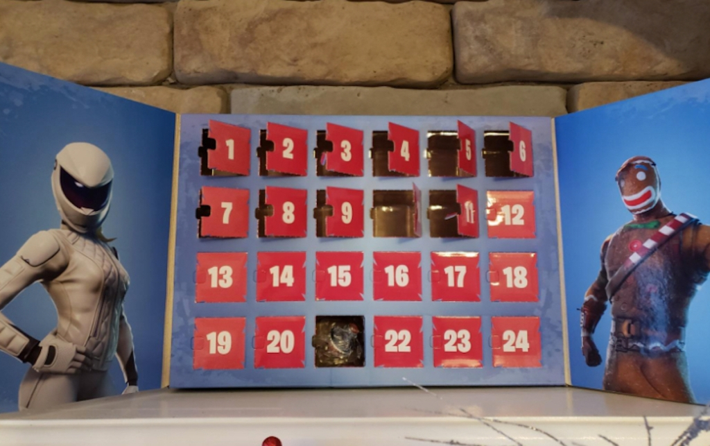 fortnite advent calendar on fireplace mantel