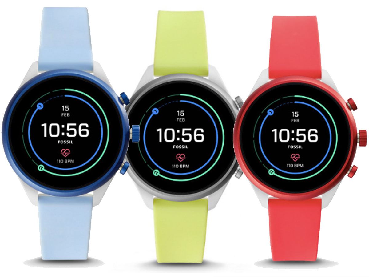 fossil smart watches in blue, green, and red