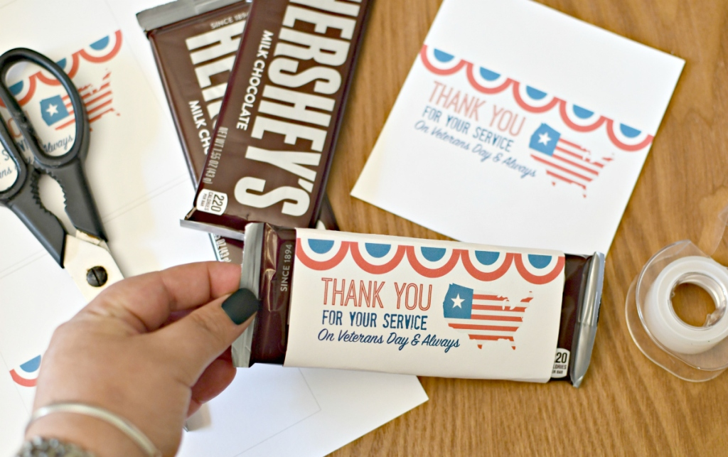free printable candy bar wrappers for Veterans Day