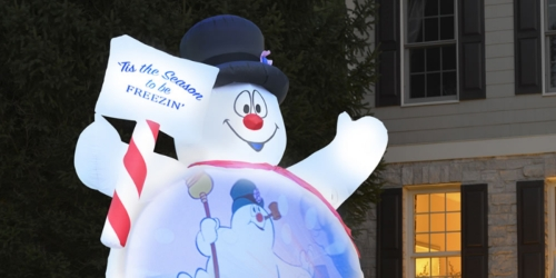 This Video-Projecting Inflatable Frosty the Snowman is 10 Feet Tall & Plays Movie Clips on Its Belly!