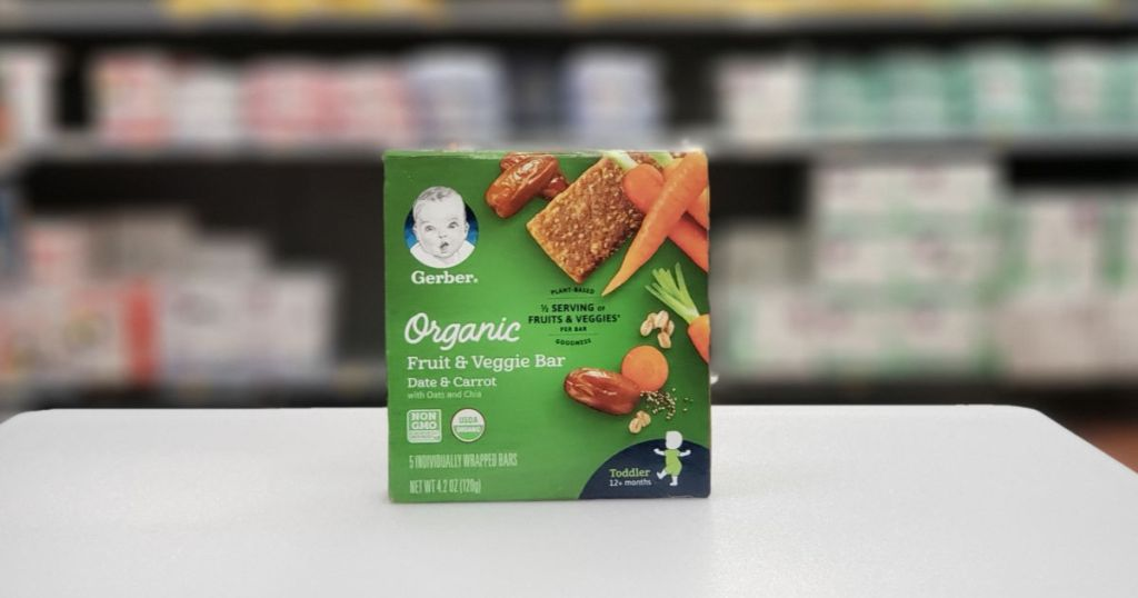 gerber organic fruits and veggie bar with blurred background