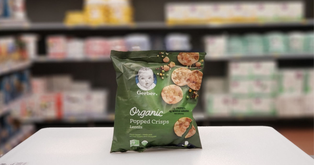 gerber organic popped crisps with blurred background