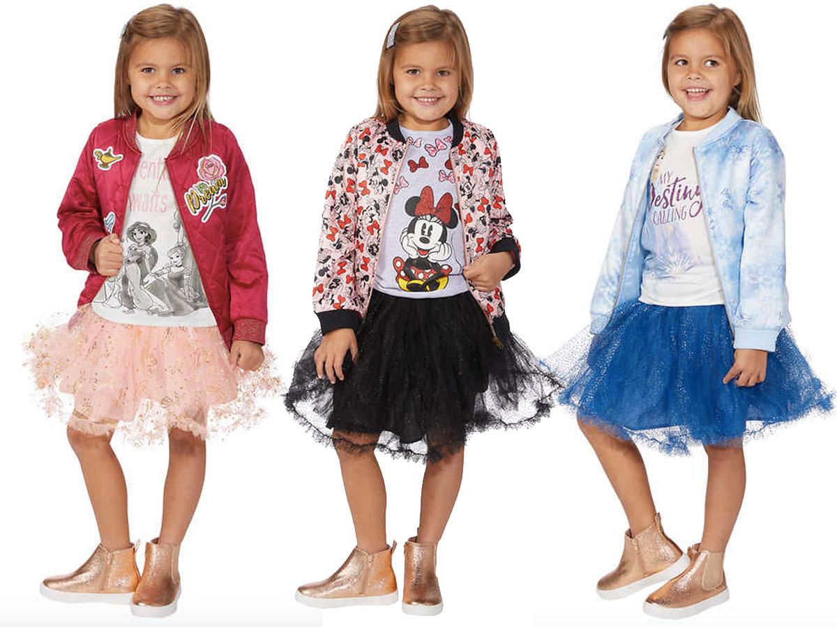 3 little girls wearing disney outfits