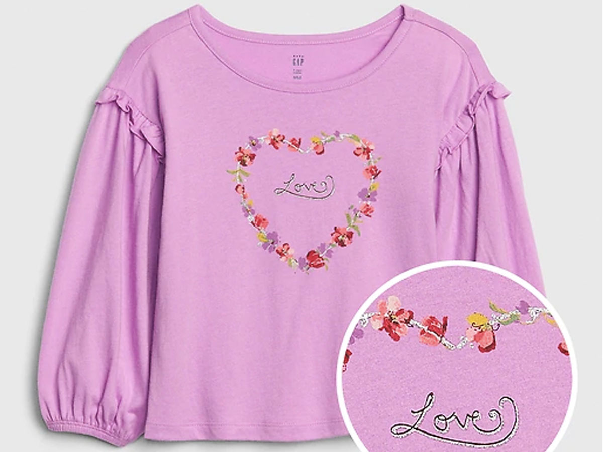 toddler ruffle graphic long sleeve t
