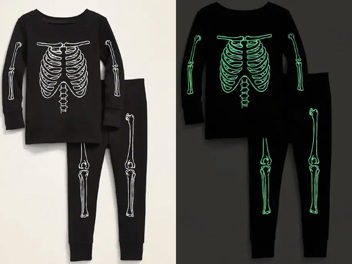old navy black skeleton glow in the dark pjs