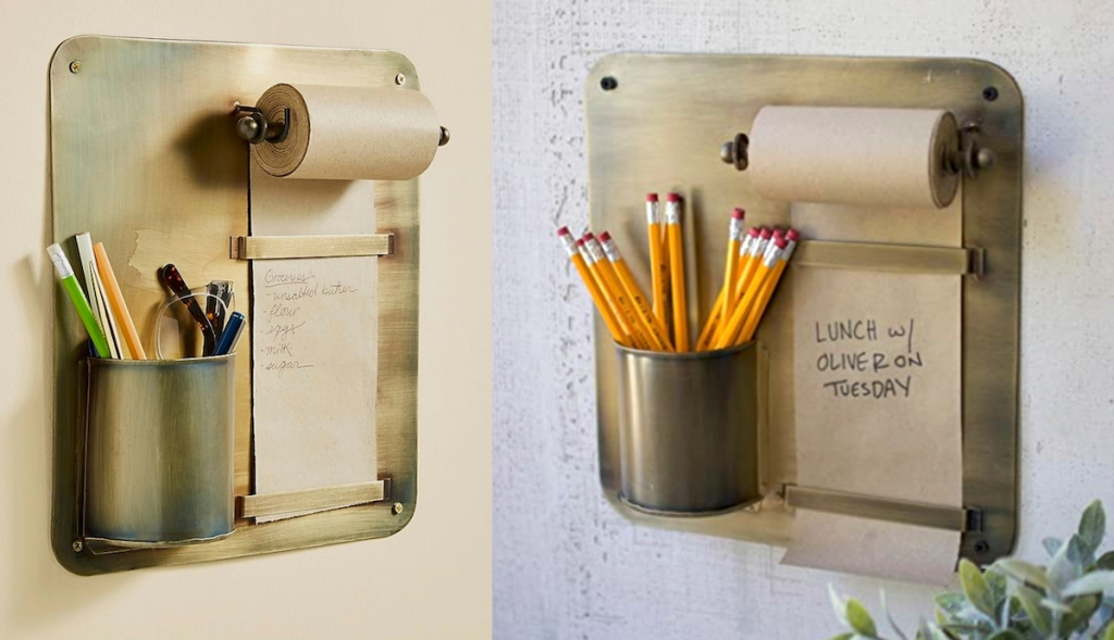 gold industrial notepads with kraft paper tolls and pencil holders