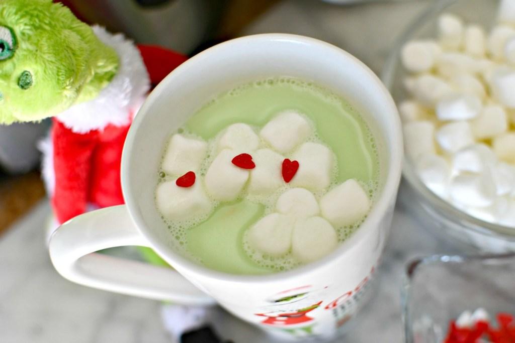 mug of Grinch hot chocolate