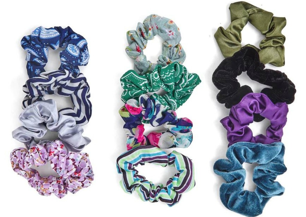 blue, pink and green hair scrunchies