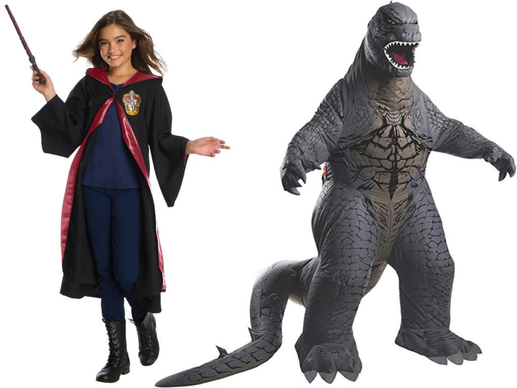 Gryffindor and godzilla Hallween costumes.=