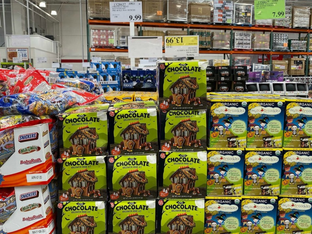 stacks of halloween house building kits in store