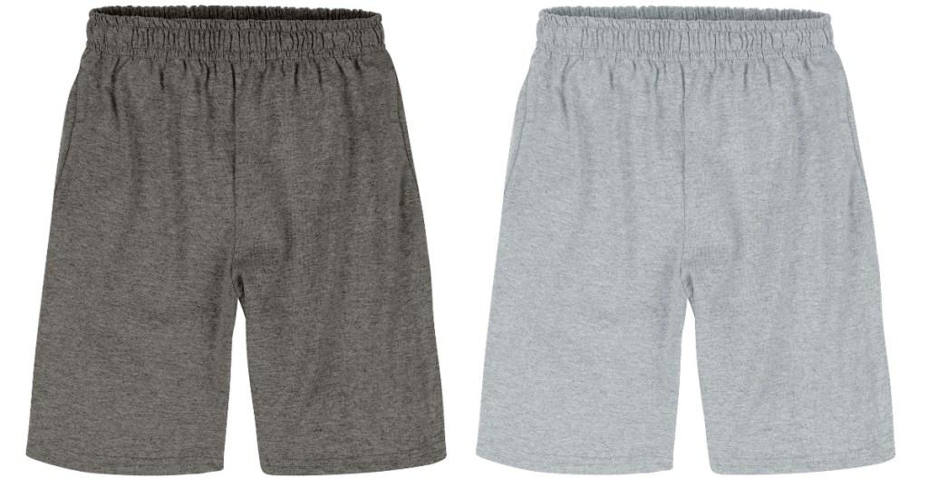 dark grey shorts and light grey shorts