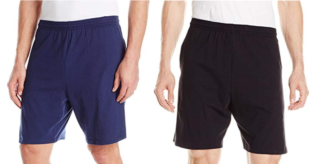 man modeling blue and black cotton shorts