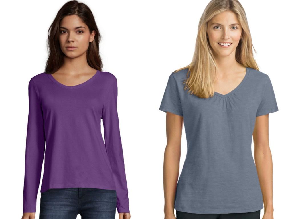 purple and gray t-shirts