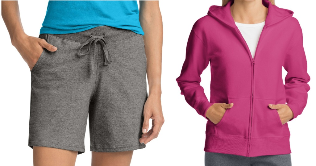 grey shorts and pink hoodie