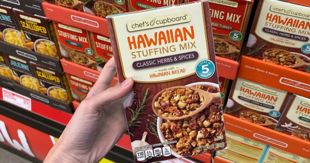 hand holding box of stuffing in store