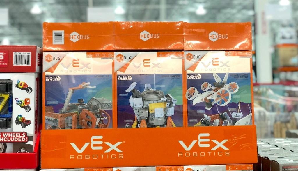 vex robotics toys in boxes on store floor