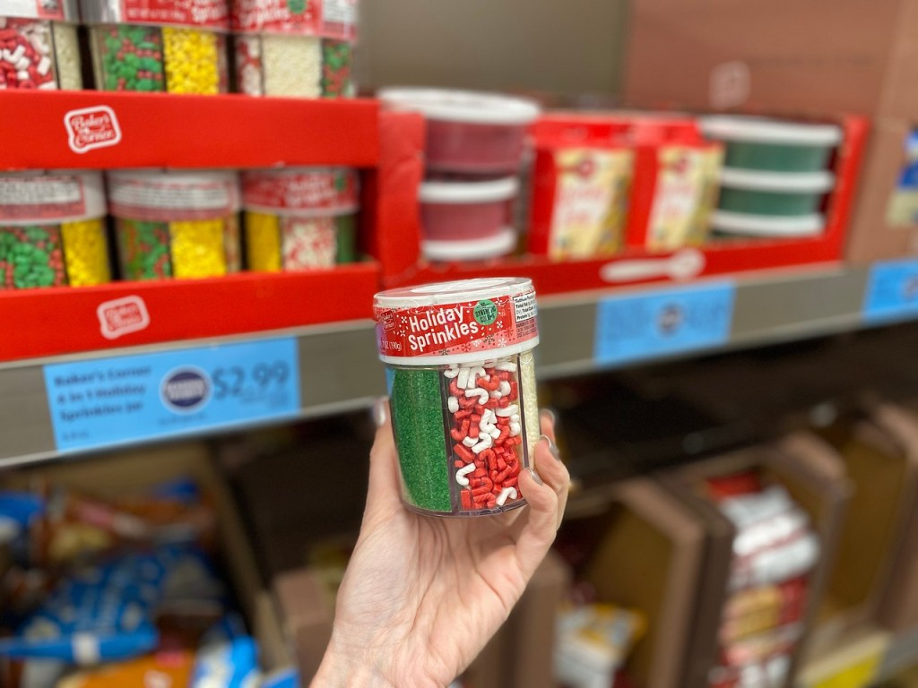 hand holding up holiday sprinkles in ALDI