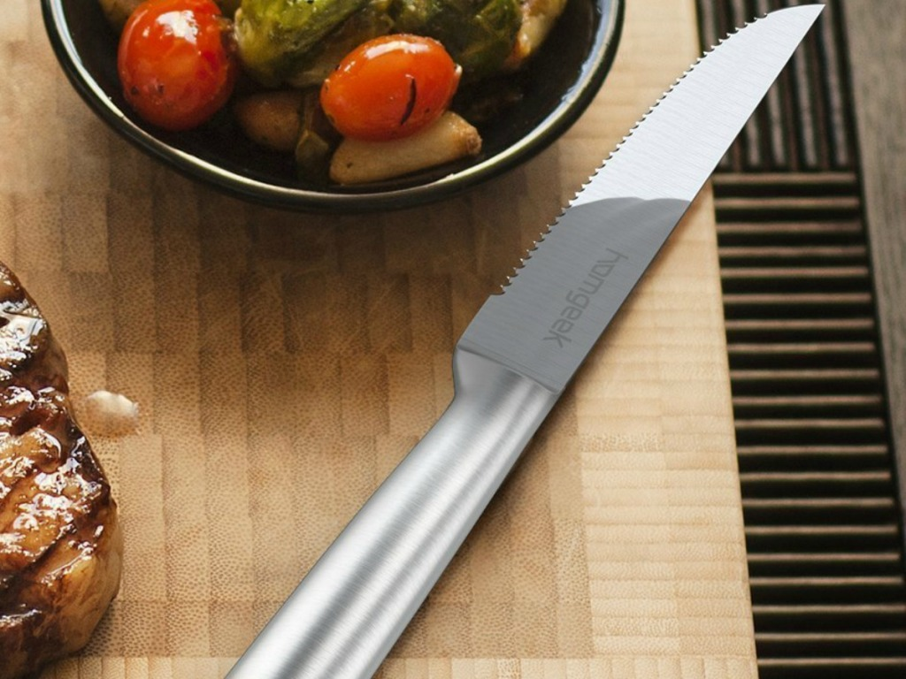 homgeek knife set from Amazon on cutting board