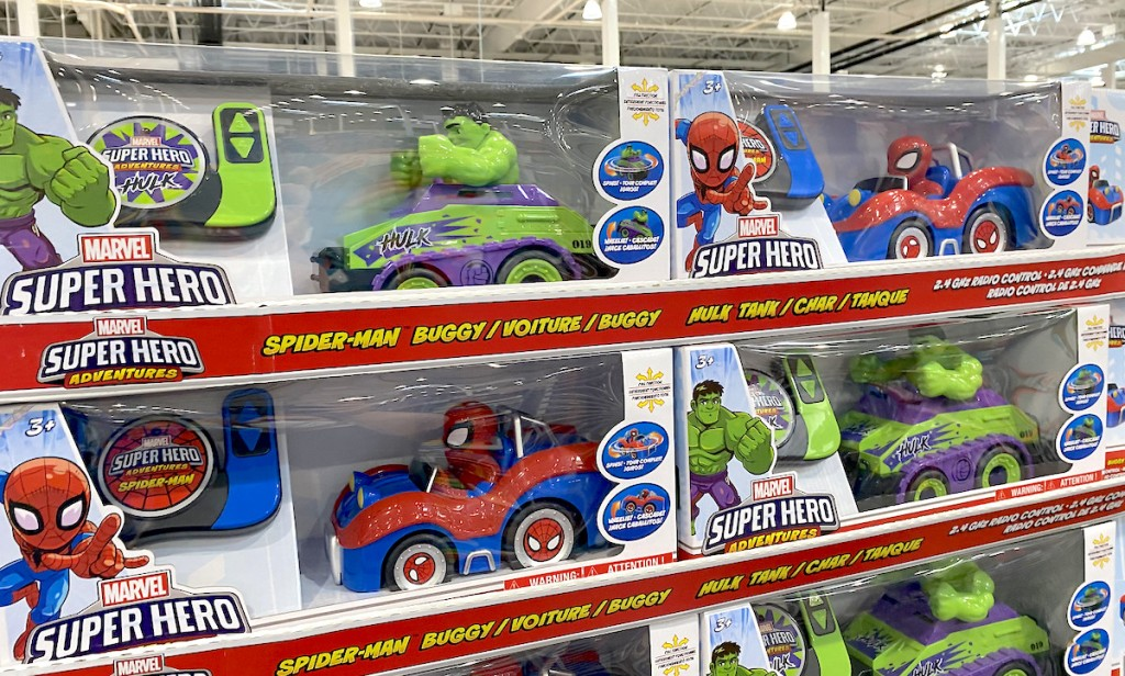 stacks of marvel spiderman and hulk toy cars in store