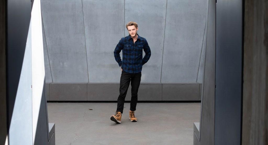 Man wearing Kenneth Cole Flannel Shirt