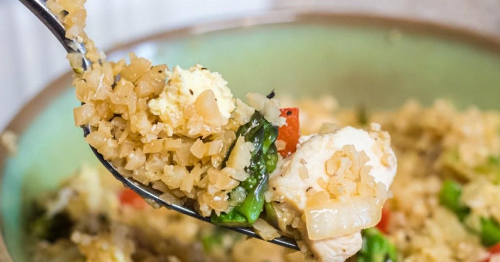 fork with cauliflower chicken fried rice
