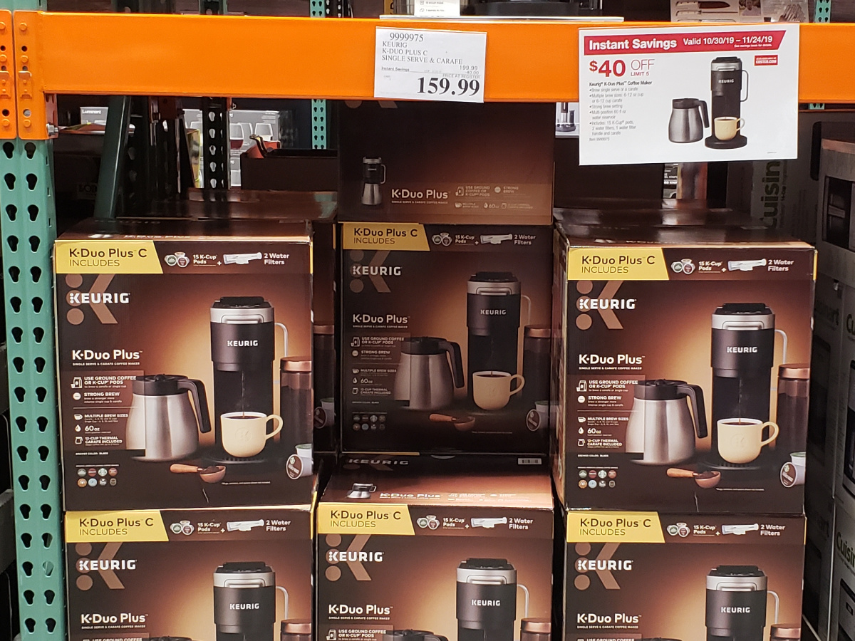 Keurig Duo Plus boxes stacked at Costco