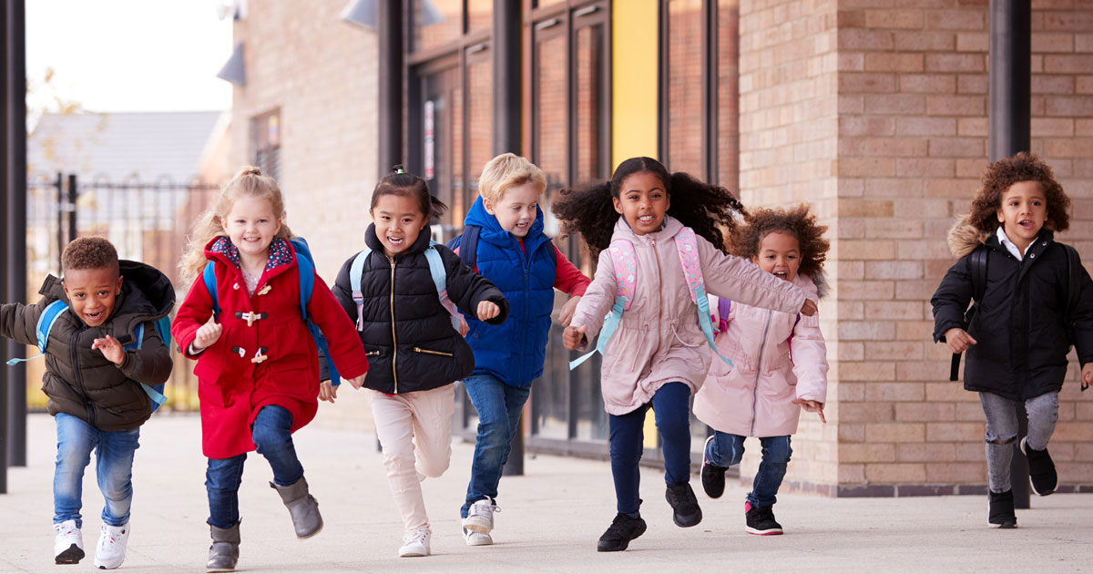 kids running with jackets on