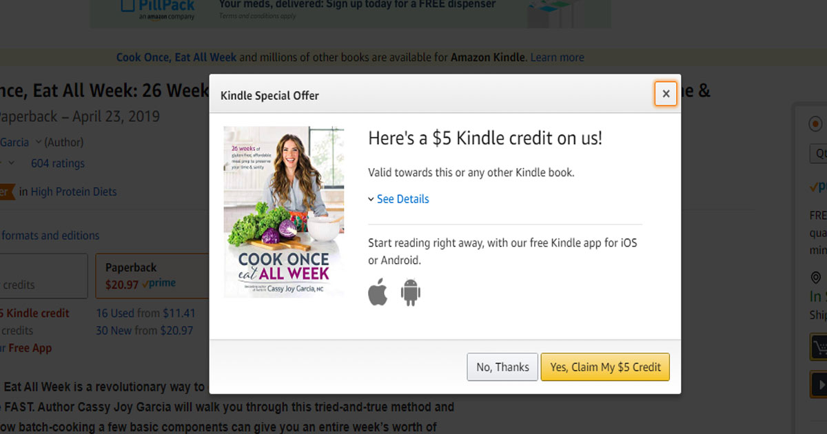 Free 5 Kindle Credit For Amazon Prime Members Select Accounts