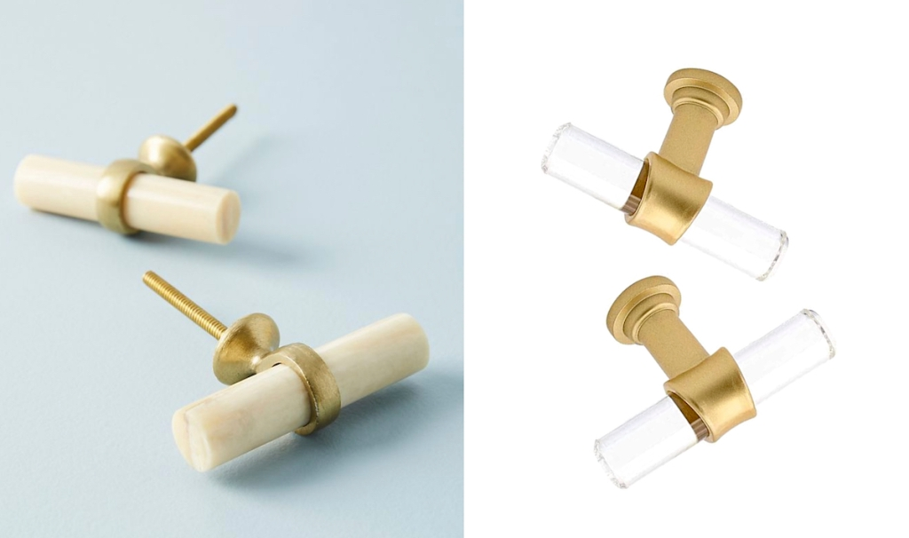 comparison of two gold and white and clear t-shaped knobsof anthropologie dupes
