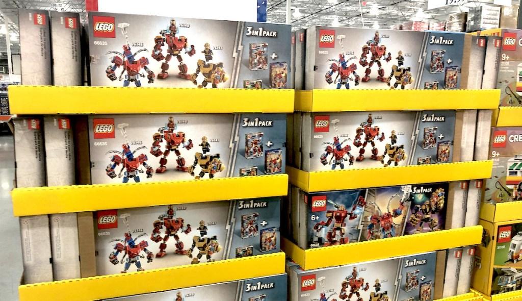 stacks of lego marvel super heros on store shelf