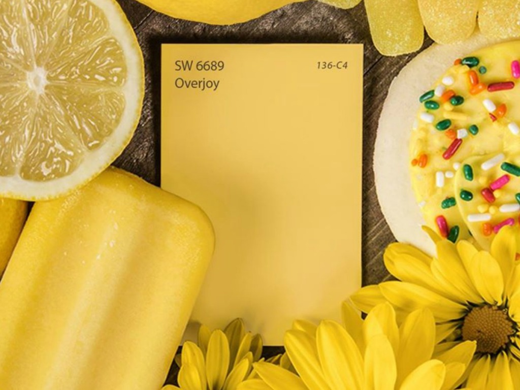 yellow paint card with lemons and cookies
