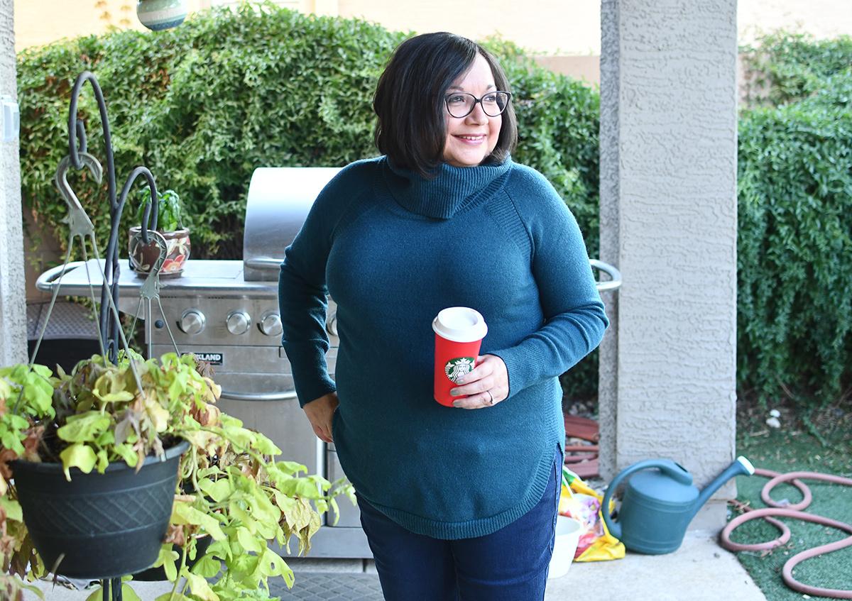Lina wearing Time and Tru cowl neck sweater