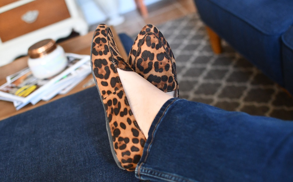 Lina wearing Time and Tru leopard print flats