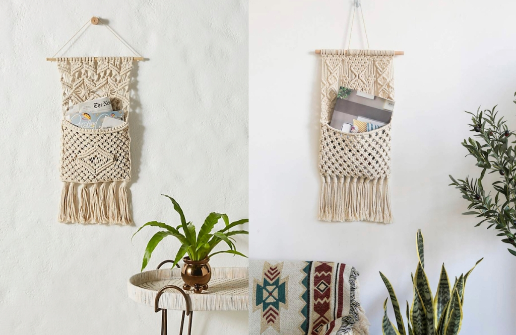 two macrame letter mail sorters hanging on wall