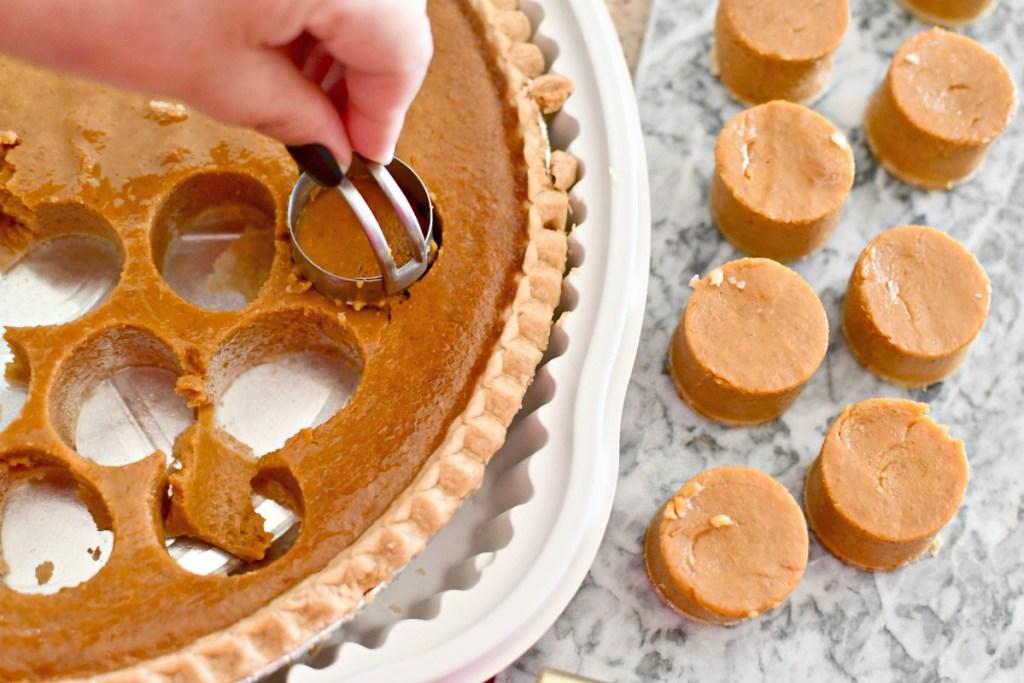making pumpkin pie bites using a biscuit cutter