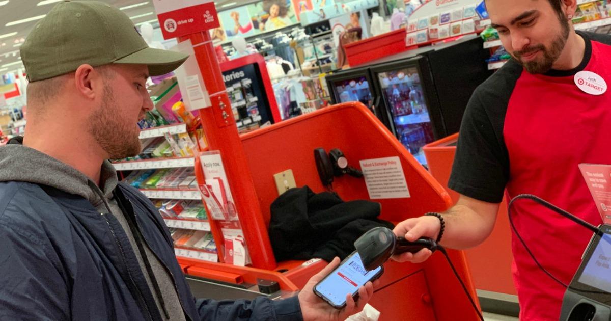 man scanning target circle app on phone
