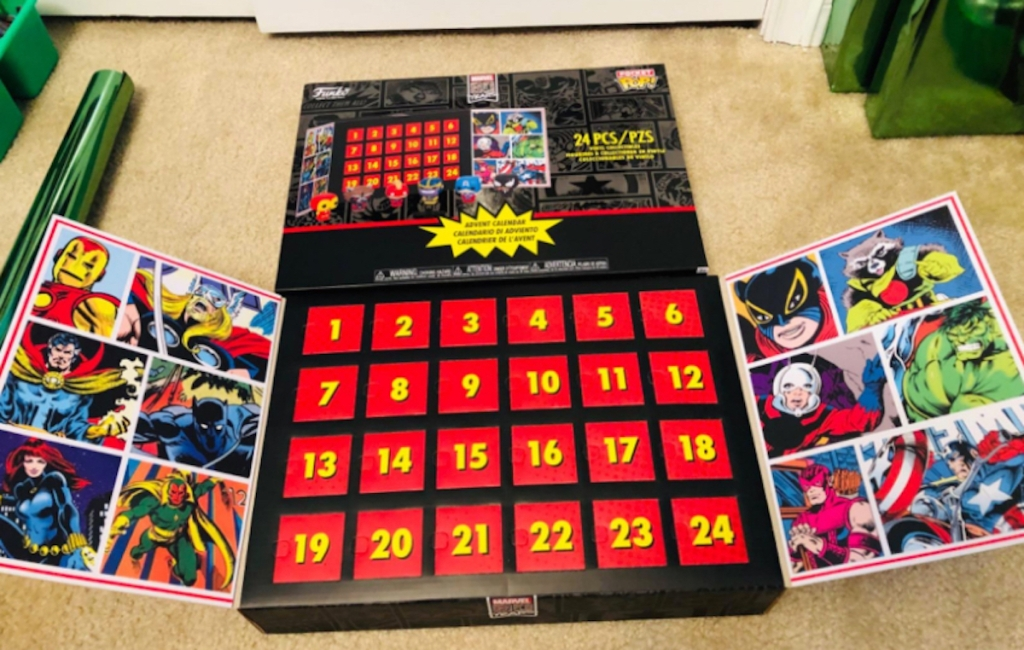 marvel advent calendar laying on table