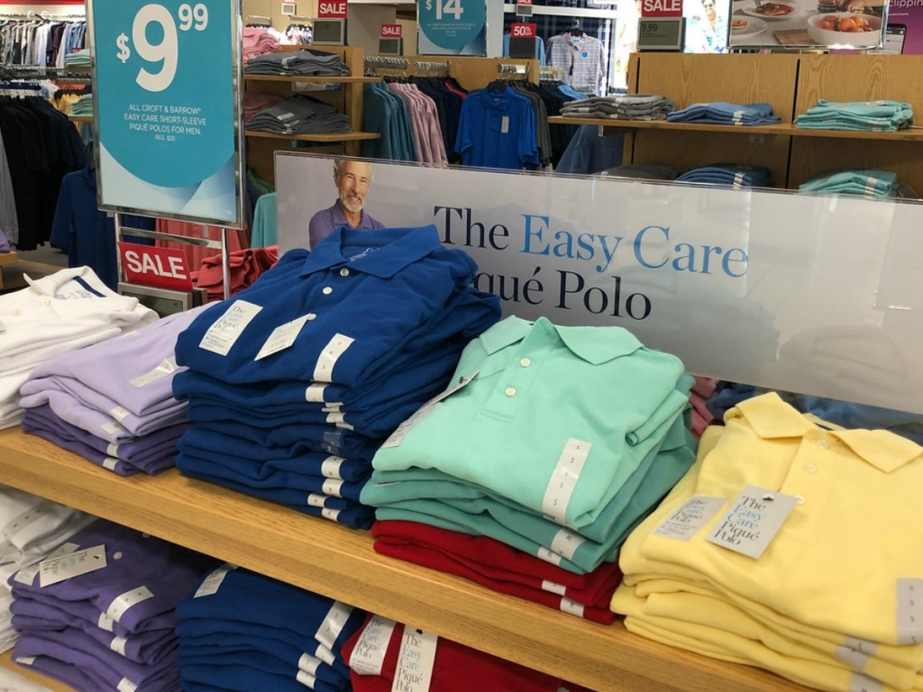 store display with men's shirts