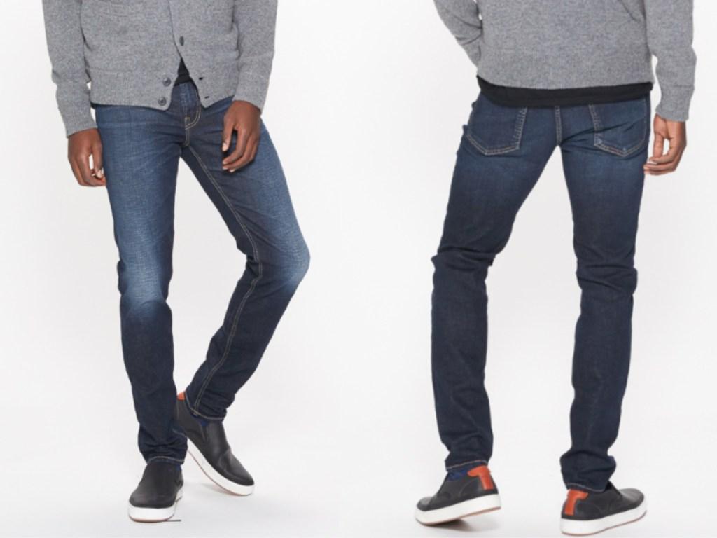 man modeling silver jeans