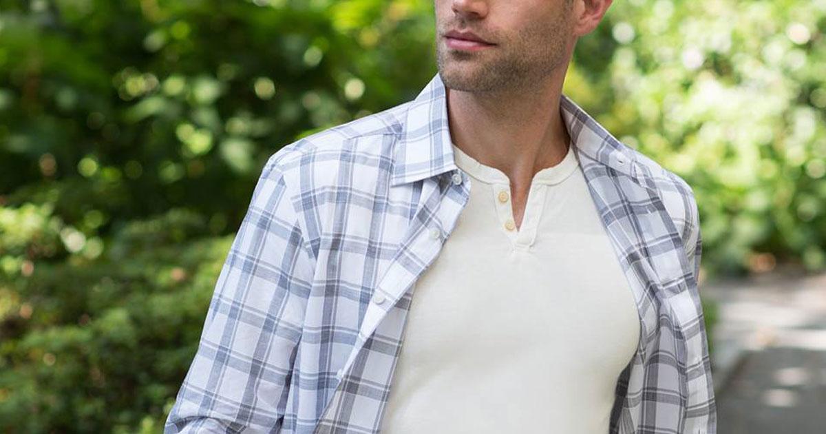 men's wearhouse long sleeve shirt on man in park