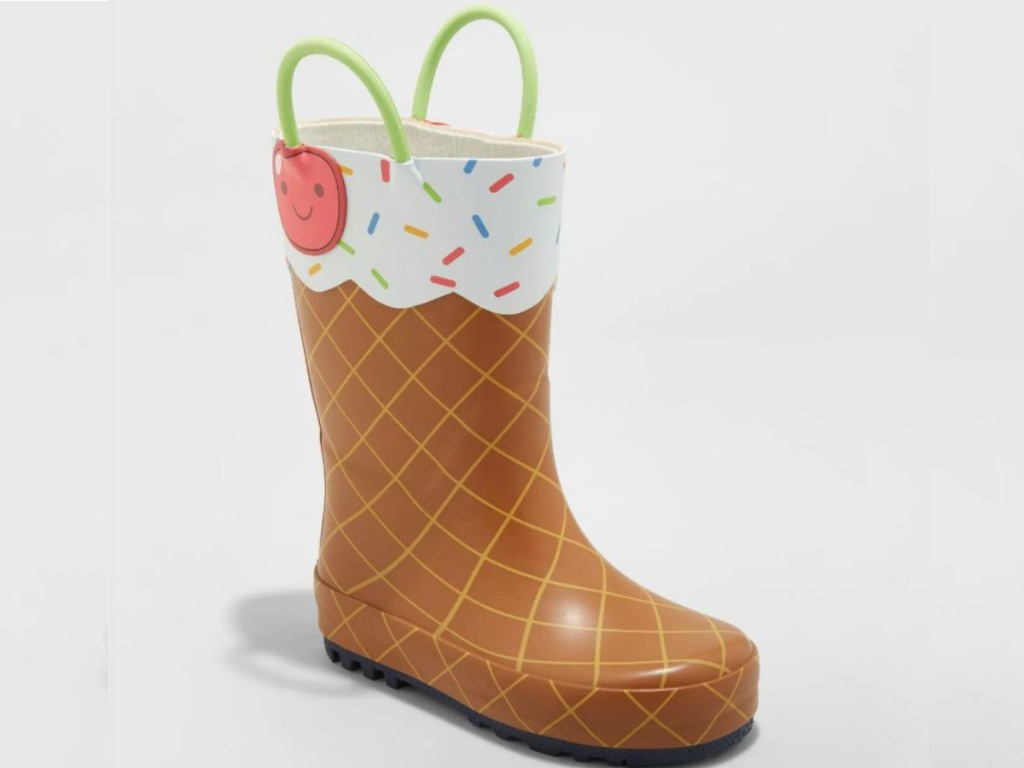 little boot that is colored like an ice cream cone