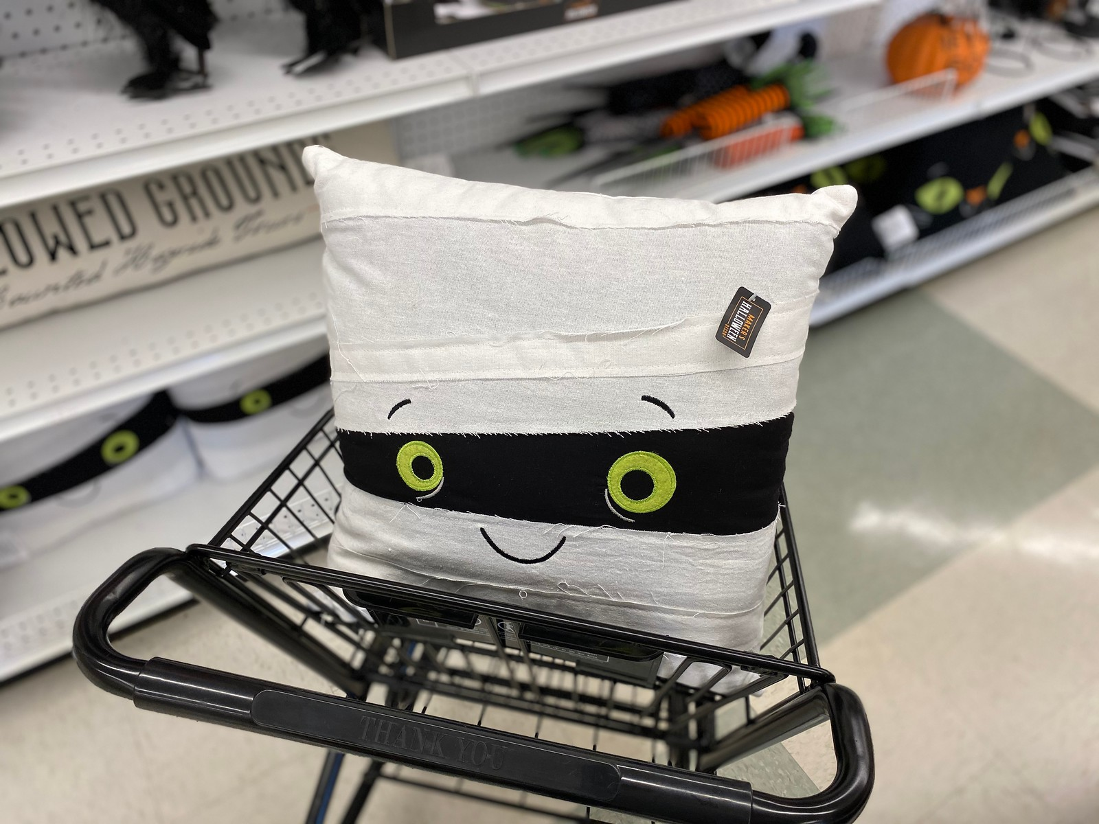 mummy pillow in cart in store