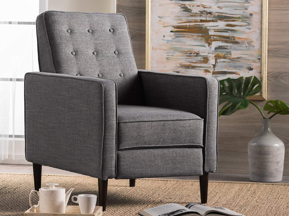 grey chair in living room