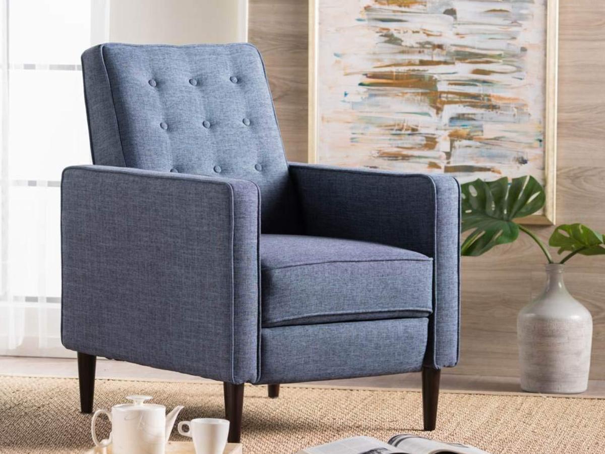 blue recliner in living room