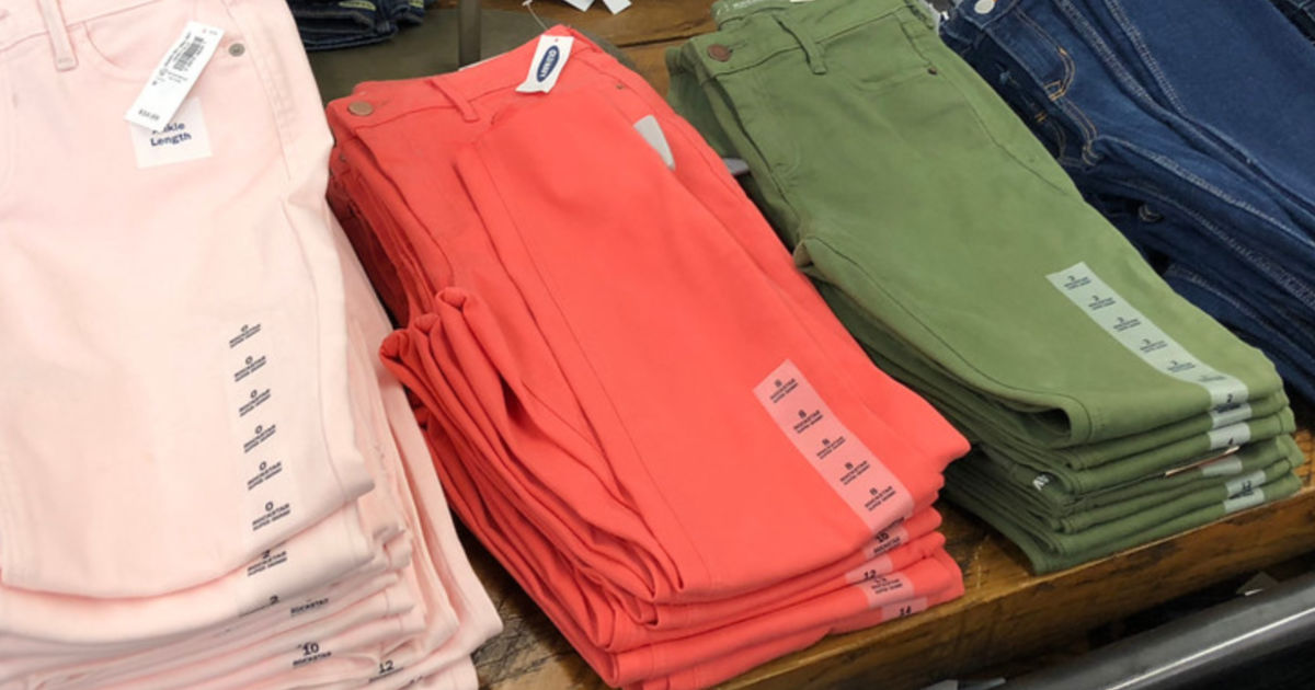 color pants on display in store