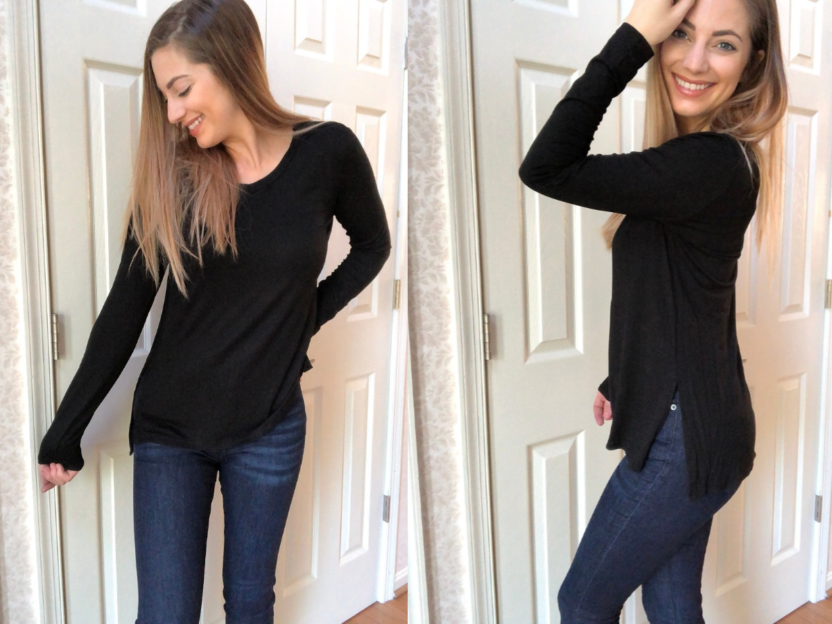 woman modeling black tunic top front and side views