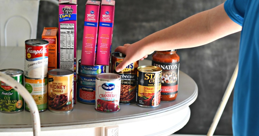 canned goods on the table to donate