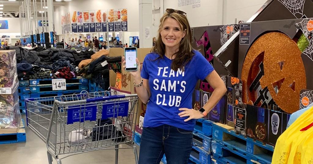 Paige wearing Team Sam's Club shirt