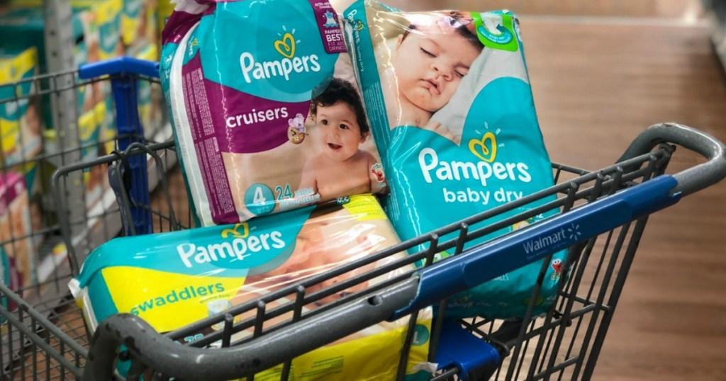 Pampers diapers in Walmart cart